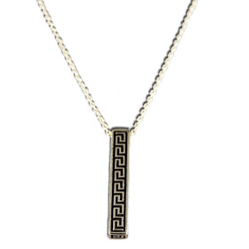 "Greek Key Column Sterling Silver Pendant with 16"" chain"