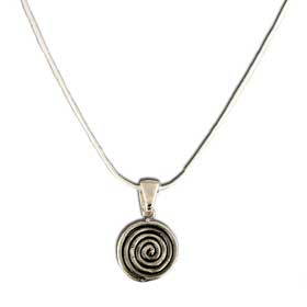 "Minoan Spiral Sterling Silver Pendant w/ 16"" snake chain"