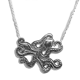 The Neptune Collection - Ancient Greek Octopus Sterling Silver Necklace 16""