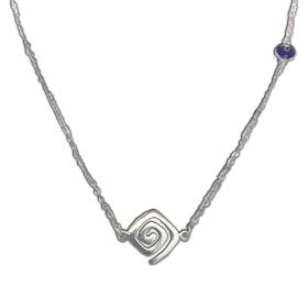 "Sterling Silver Minoal Spiral and Blue Evil Eye 16"" Necklace"