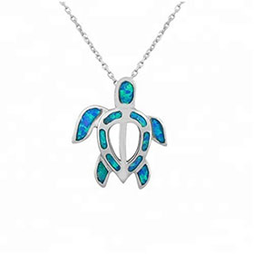 "Sterling Silver and Opal Aegean Turtle Pendant w/ 16"" chain, 22mm"