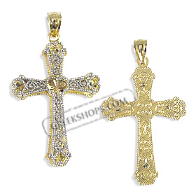 Greekshops greek products baptismal and newborn gifts 14k gold cross pendant heart design with white gold and gemstone 32mm mozeypictures Image collections