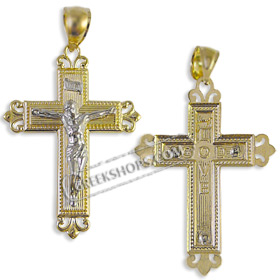 Greekshops greek products greek gold cross pendants 14k 14k gold cross pendant crucifix with white gold 34mm mozeypictures Image collections