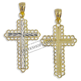 14k Gold Cross Pendant - Chevron with White Gold (30mm)