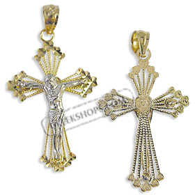 14k Gold Cross Pendant - Crucifix with White Gold (30mm)