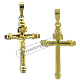Greekshops greek products baptismal and newborn gifts 18k 18k gold cross pendant crucifix 30mm aloadofball Image collections