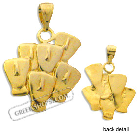 24k Gold Plated Sterling Silver Pendant - Cycladic Idols (23mm)