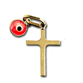 14k Gold Cross with Pink Evil Eye