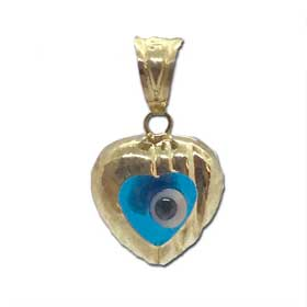 14k Gold Heart-shaped Pendant with Clear Turqoise Glass Evil Eye 10mm