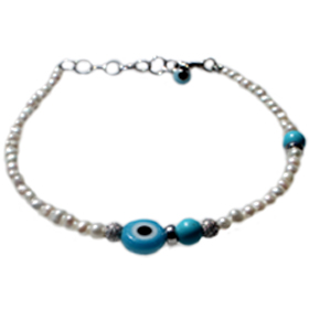 The Nefeli Collection -  Pearl Bracelet with Turquoise Round Evil Eye (3mm beads)