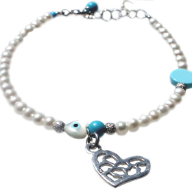 The Nefeli Collection - Triple Mother of Pearl Charm Bracelet with Silver Heart and Evil Eye (3.5mm