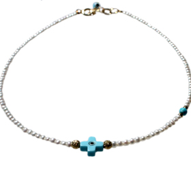 Nefeli Collection - Children's Necklace with Mother of Pearl with Blue cross and Evil Eye  (2mm bead