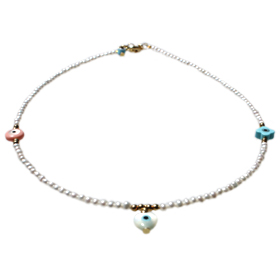 The Nefeli Collection - Childrens Triple Mother of Pearl Charm Necklace and Evil Eye  (2mm)