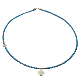 The Nefeli Collection - Blue Coral Necklace with Mother of Pearl Cross and Evil Eye (2mm beads)