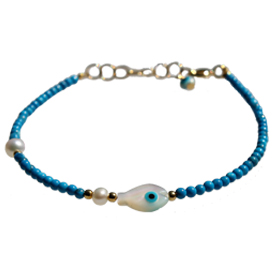 The Nefeli Collection -   Blue Coral Bracelet With Tear Drop  and Evil Eye (2mm Beads)