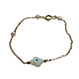 The Nefeli Collection - Gold Plated 24K Bracelet with Mother of Pearl White Cross and Evil Eye