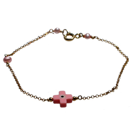 The Nefeli Collection - Gold Plated 24K Bracelet with Mother of Pearl Light PInk Cross and Evil Eye