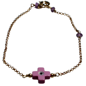 The Nefeli Collection - Gold Plated 24K Bracelet with Mother of Pearl Dark Pink Cross and Evil Eye