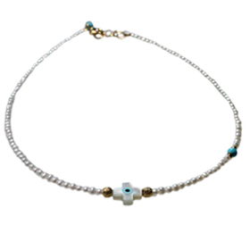 Nefeli Collection - Children's Necklace with Mother of Pearl with White cross and Evil Eye  (2mm bea