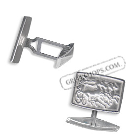 Sterling Silver Rectangle Chariot Cufflinks (10mm)