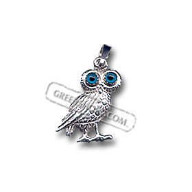 Platinum Plated Sterling Silver Pendant - Standing Owl (19mm)