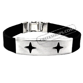 Rubber and Stainless Steel Bracelet with Box Clasp - Stars (12mm)