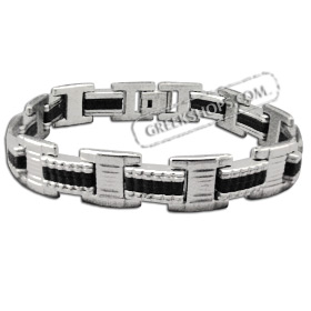 Rubber and Stainless Steel Bracelet with Box Clasp (12mm)