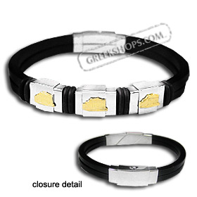 The Hephaestus Collection - Rubber Bracelet with 18k Gold Emblem - Triple Parthenon