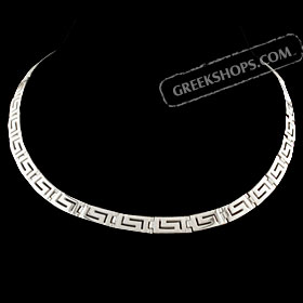 The Athena Collection - Sterling Silver Necklace w/ Greek Key Links (7mm)