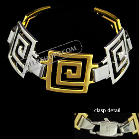 Stainless Steel Bracelet with Gold Plating - Large Greek Key