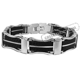 Rubber and Stainless Steel Bracelet - Greek Key Motif