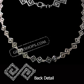 Sterling Silver Necklace - Handcrafted Greek Key Motif Links (44mm)