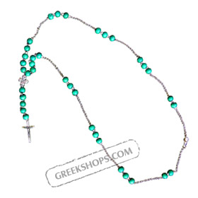Rosary Style Necklace KRZ10 Teal