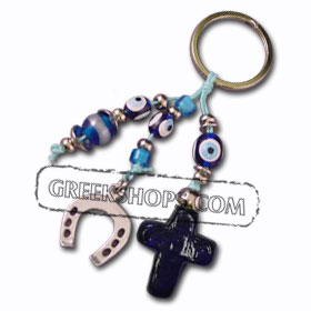 Good Luck Charm Key Chain with Blue Glass Cross