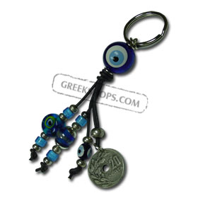 Twenty Lepta Keychain with Evil Eye 121028