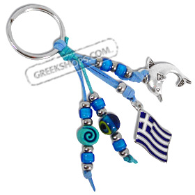 Keychain with Mati Evil Eye Beads, Greek Flag, and Minoan Dolphin 121401