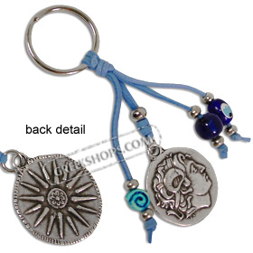 Keychain with Mati Evil Eye Beads and Alexander the Great / Vergina Star 121419