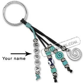 Greek Custom Name Good Luck Keychain - Minoan Swirl Motif 123317