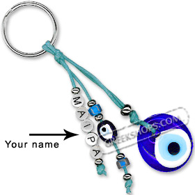 Greek Custom Name Good Luck Keychain - Large Mati Evil Eye 123336