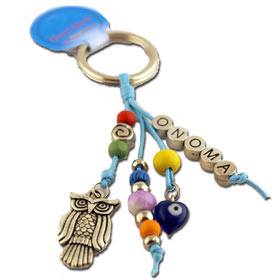 Custom Name Greek Owl and Evil Eye Keychain 123526