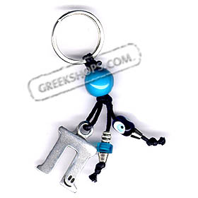 Greek Letter Evil Eye Bead Keychain