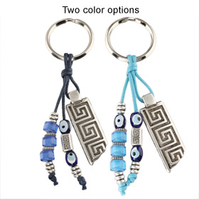Greek Key Column with Evil Eye and Bead Keychain