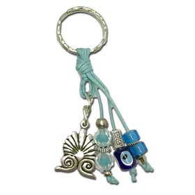 Akrokeramo & Good luck Charms Keychain - Light Blue