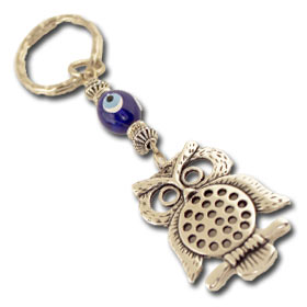 Owl and Evil Eye Keychain