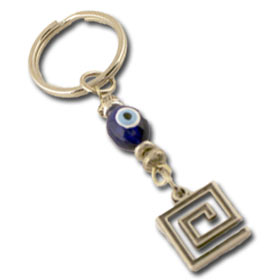 Greek Key and Evil Eye Keychain