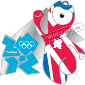 London 2012 Mascot Wenlock Union Flag Pin
