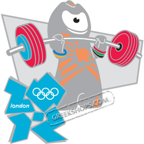 London 2012 Mascot Wenlock Weightlifting Pin