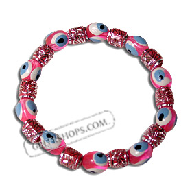 Evil Eye Bracelet Pink with Decorative Spacer Beads
