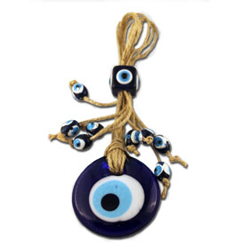"Blue Glass & Sisal Evil Eye ""Mati"" ornament GO106"