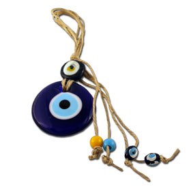 "Blue Glass & Sisal Evil Eye ""Mati"" ornament GO119"